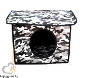 Къщичка за куче, различни размери, десен камуфлаж
