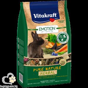 Vitakraft - Emotion Pure Nature Herbal - пълноценна ежедневна храна за пораснали зайци с билки 600 гр.