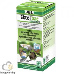 JBL Ektol bac Plus 250 - ефективен срещу всички видове Aeromonas, Pseudomonas, Columnaris, Flexibacter бактерии и др. 200 мл.