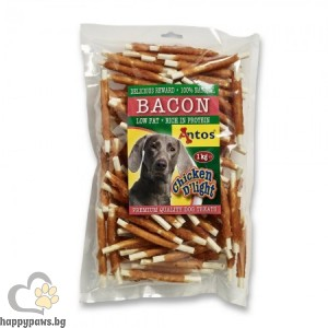 Antos Chicken D light Bacon - пръчици обвити с бекон 1 кг.