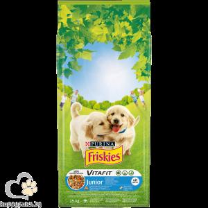 PURINA - FRISKIES JUNIOR суха храна за малки кученца, с пиле, мляко и зеленчуци, 15кг.