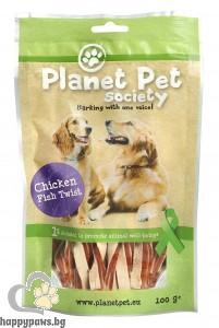 PlanetPet Chicken and tuna twist - лакомство за кучета с пилешко месо и филе от прясна риба, 100 гр.