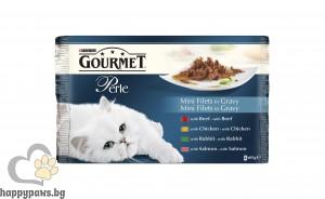 Gourmet - Perle Mix пауч за котки в зряла възраст, мултиопаковка, асортимент, 4 х 85 гр.