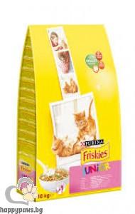 PURINA - Friskies Junior суха храна за малки котенца от 1 до 12 месеца, с пиле, моркови и млечни гранули, 10 кг.
