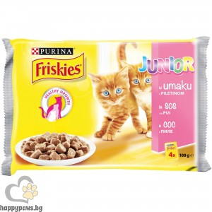 PURINA - Friskies Junior пауч с хапки в сос за малки котенца, с пилешко месо, мултиопаковка, 4 х 85 гр.