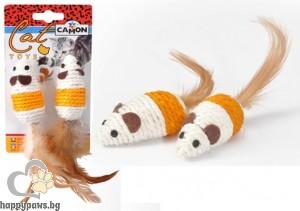 Camon - Играчка за котета - Mишки от сезал с пера