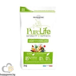 Flatazor - Pure Life Light / Sterilized, суха храна с бяла риба и патица за кастрирани кучета с наднормено тегло, различни разфасовки.