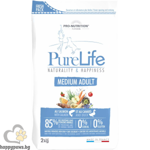Flatazor - Pure Life Medium Adult, суха диетична храна със сьомга и патица за средни породи кучета, над 12 месеца, различни разфасовки.