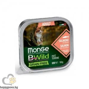 Monge BWILD Grain Free Adult - Пастет терин без зърнени храни, за котки в зряла възраст, 100 гр, различни вкусове