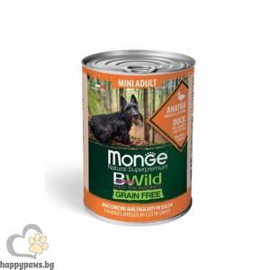 Monge BWILD Grain Free Mini Adult – Хапки в сос с патешко, тиква и тиквички, без зърнени храни, за кучета в зряла възраст от мини породи, 400 гр