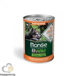 Monge BWILD Grain Free Puppy&Junior – Хапки в сос с патешко, тиква и тиквички, без зърнени храни, за подрастващи кучета от всички породиq 400 гр