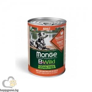 Monge BWILD Grain Free Adult– хапки в сос, без зърнени храни, за кучета в зряла възраст от всички породи, 400 гр