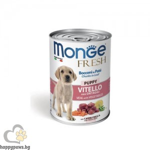 Monge Fresh Puppy с телешко и зеленчуци – хапки в пастет за подрастващи кученца от отбиването до 1г, 400 гр