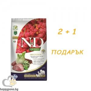N&D - Dog Quinoa Digest Lamb суха храна за израснали кучета над 1 година с агнешко, копър и киноа, различни разфасовки + ПОДАРЪК