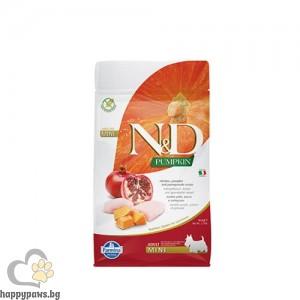N&D Dog Mini Adult Chicken & Pomegranate Пълноценна храна за кучета от дребни породи в зряла възраст с пиле, тиква и нар, 800 гр
