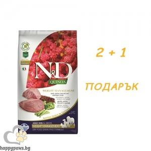 N&D - Dog Quinoa Weight Lamb суха храна за израснали кучета над 1 година за контрол на теглото с агнешко, броколи и киноа, различни разфасовки + ПОДАРЪК