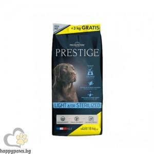 Prestige Adult LIGHT &/OR STERILIZED - суха храна за кучета от всички породи, кастриране или склонни към напълняване, 15 + 3 кг ПРОМОЦИЯ