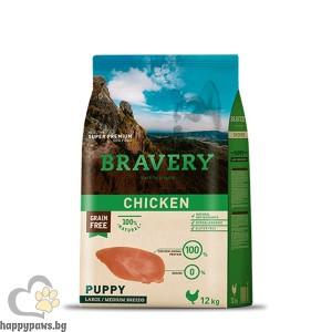 Bravery - Grain Free Puppy Medium and Large Breeds суха храна за малки кученца до 1 година от средни и едри породи с пилешко месо, 12 кг.