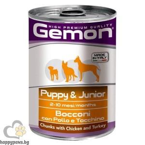 GEMON - консерва хапки DOG Junior 415 g - с пиле и пуйка за подрастващи кучета
