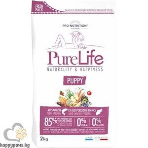 Flatazor - Pure Life Puppy, суха храна със сьомга и бяла риба за малки кученца и кучета в напреднала бременност, както и за кърмещи кучета, различни разфасовки.