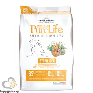 Flatazor - Pure Life Cat STERILIZED, С ПАТЕШКО И САРДИНИ, суха храна за кастрирани котки и/или котки със склонност към напълняване, различни разфасовки.