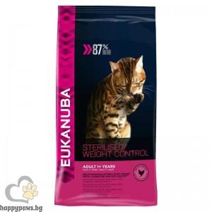Eukanuba - ADULT STERILISED & WEIGHT CONTROL за кастрирани котки и котки с наднормено тегло на възраст над 12 месеца, различни разфасовки.