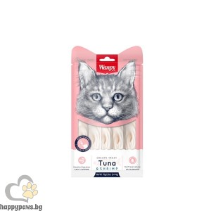 Wanpy Creamy Tuna & Shrimps кремообразно лакомство за котки с риба тон и скариди, 5 x 14гр